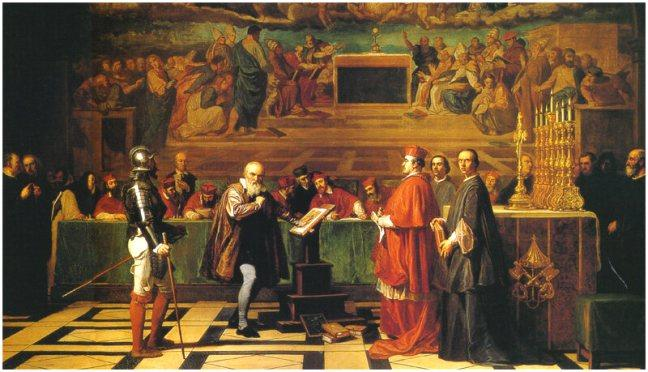 Galileo before the Inquisition in Rome on the charge of 'vehement suspicion of heresy', for his defence of the Copernican view that the earth revolves around the sun.